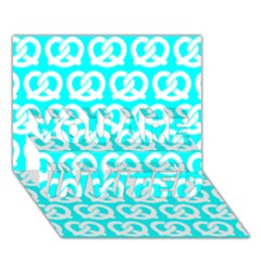 Aqua Pretzel Illustrations Pattern YOU ARE INVITED 3D Greeting Card (7x5)