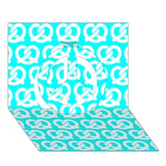 Aqua Pretzel Illustrations Pattern Peace Sign 3D Greeting Card (7x5)