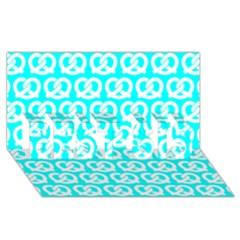 Aqua Pretzel Illustrations Pattern Best Sis 3d Greeting Card (8x4)