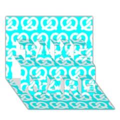 Aqua Pretzel Illustrations Pattern TAKE CARE 3D Greeting Card (7x5)