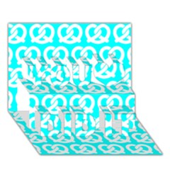 Aqua Pretzel Illustrations Pattern You Did It 3d Greeting Card (7x5)