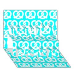 Aqua Pretzel Illustrations Pattern You Rock 3d Greeting Card (7x5)
