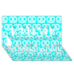 Aqua Pretzel Illustrations Pattern Laugh Live Love 3D Greeting Card (8x4)