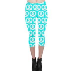 Aqua Pretzel Illustrations Pattern Capri Leggings