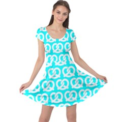 Aqua Pretzel Illustrations Pattern Cap Sleeve Dresses