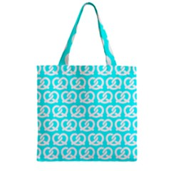 Aqua Pretzel Illustrations Pattern Zipper Grocery Tote Bags