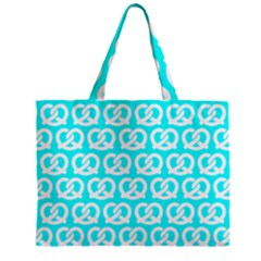 Aqua Pretzel Illustrations Pattern Zipper Tiny Tote Bags