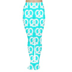 Aqua Pretzel Illustrations Pattern Women s Tights