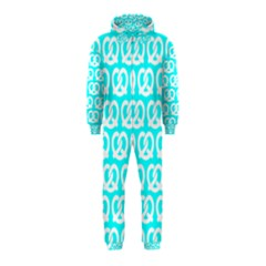 Aqua Pretzel Illustrations Pattern Hooded Jumpsuit (Kids)