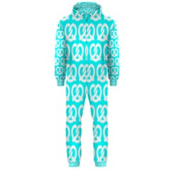 Aqua Pretzel Illustrations Pattern Hooded Jumpsuit (Men)
