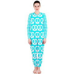 Aqua Pretzel Illustrations Pattern OnePiece Jumpsuit (Ladies)