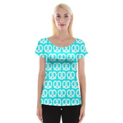 Aqua Pretzel Illustrations Pattern Women s Cap Sleeve Top