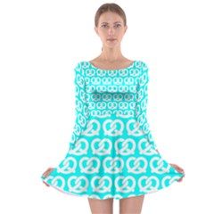Aqua Pretzel Illustrations Pattern Long Sleeve Skater Dress