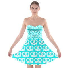 Aqua Pretzel Illustrations Pattern Strapless Bra Top Dress