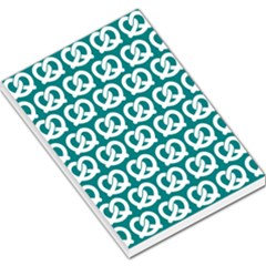 Teal Pretzel Illustrations Pattern Large Memo Pads