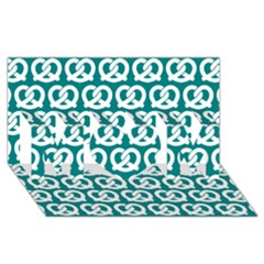Teal Pretzel Illustrations Pattern MOM 3D Greeting Card (8x4)