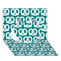 Teal Pretzel Illustrations Pattern Heart 3D Greeting Card (7x5)