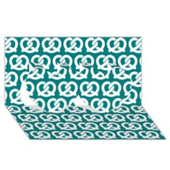 Teal Pretzel Illustrations Pattern Twin Hearts 3d Greeting Card (8x4)