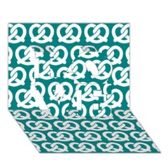 Teal Pretzel Illustrations Pattern LOVE 3D Greeting Card (7x5)