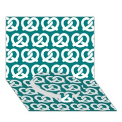 Teal Pretzel Illustrations Pattern Circle Bottom 3D Greeting Card (7x5)
