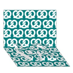 Teal Pretzel Illustrations Pattern LOVE Bottom 3D Greeting Card (7x5)