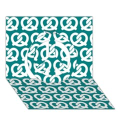 Teal Pretzel Illustrations Pattern Peace Sign 3D Greeting Card (7x5)