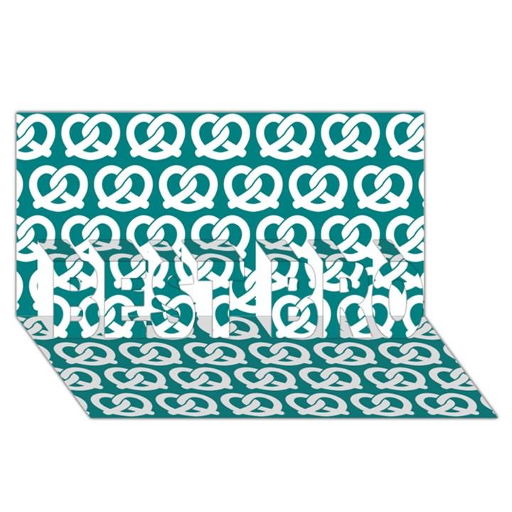 Teal Pretzel Illustrations Pattern BEST BRO 3D Greeting Card (8x4)