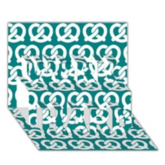 Teal Pretzel Illustrations Pattern WORK HARD 3D Greeting Card (7x5)