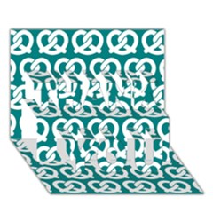 Teal Pretzel Illustrations Pattern THANK YOU 3D Greeting Card (7x5)