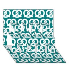 Teal Pretzel Illustrations Pattern Take Care 3d Greeting Card (7x5)