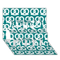 Teal Pretzel Illustrations Pattern Get Well 3D Greeting Card (7x5)