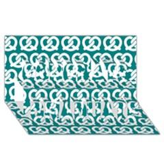 Teal Pretzel Illustrations Pattern Congrats Graduate 3D Greeting Card (8x4)