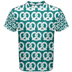 Teal Pretzel Illustrations Pattern Men s Cotton Tees