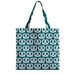 Teal Pretzel Illustrations Pattern Zipper Grocery Tote Bags