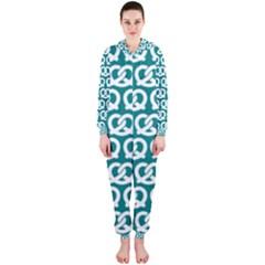 Teal Pretzel Illustrations Pattern Hooded Jumpsuit (ladies)