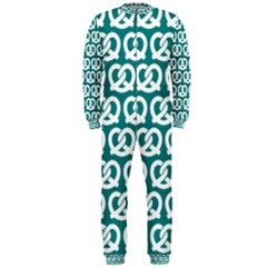 Teal Pretzel Illustrations Pattern OnePiece Jumpsuit (Men)