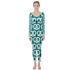 Teal Pretzel Illustrations Pattern Long Sleeve Catsuit