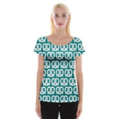 Teal Pretzel Illustrations Pattern Women s Cap Sleeve Top