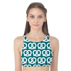 Teal Pretzel Illustrations Pattern Tank Bikini Top