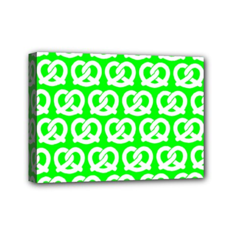 Neon Green Pretzel Illustrations Pattern Mini Canvas 7  x 5