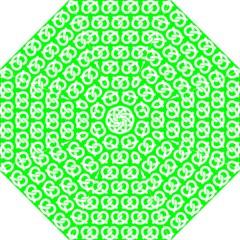 Neon Green Pretzel Illustrations Pattern Folding Umbrellas