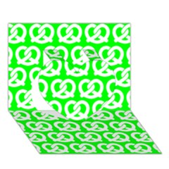Neon Green Pretzel Illustrations Pattern Heart 3D Greeting Card (7x5)