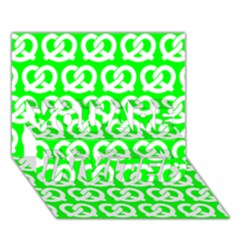 Neon Green Pretzel Illustrations Pattern YOU ARE INVITED 3D Greeting Card (7x5)