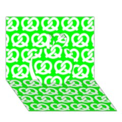 Neon Green Pretzel Illustrations Pattern Apple 3D Greeting Card (7x5)