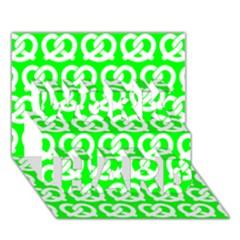 Neon Green Pretzel Illustrations Pattern WORK HARD 3D Greeting Card (7x5)