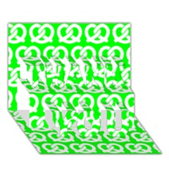 Neon Green Pretzel Illustrations Pattern Thank You 3d Greeting Card (7x5)