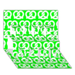 Neon Green Pretzel Illustrations Pattern Take Care 3d Greeting Card (7x5)