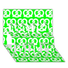 Neon Green Pretzel Illustrations Pattern You Did It 3d Greeting Card (7x5)