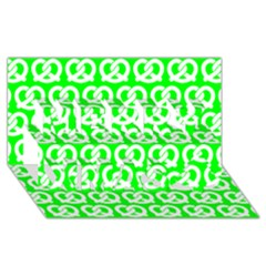 Neon Green Pretzel Illustrations Pattern Merry Xmas 3D Greeting Card (8x4)