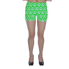 Neon Green Pretzel Illustrations Pattern Skinny Shorts